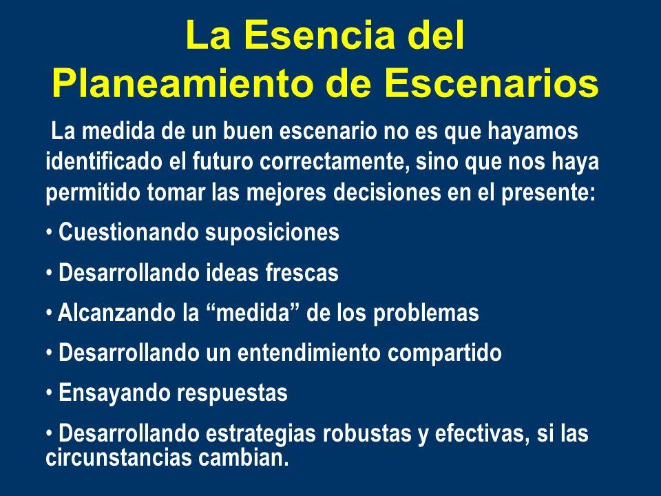La Esencia del Planeamiento de Escenarios Identifica posibles futuros alternativos Toma en cuenta perspectivas cualitativas Toma en cuenta las discont
