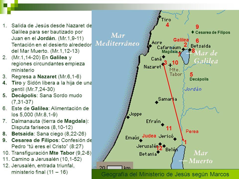 1.Salida de Jesús desde Nazaret de Galilea para ser bautizado por Juan en el Jordán. (Mr.1,9-11) Tentación en el desierto alrededor del Mar Muerto. (M
