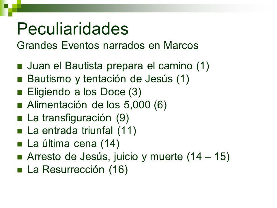 Peculiaridades Grandes Eventos narrados en Marcos Juan el Bautista prepara el camino (1) Bautismo y tentación de Jesús (1) Eligiendo a los Doce (3) Al