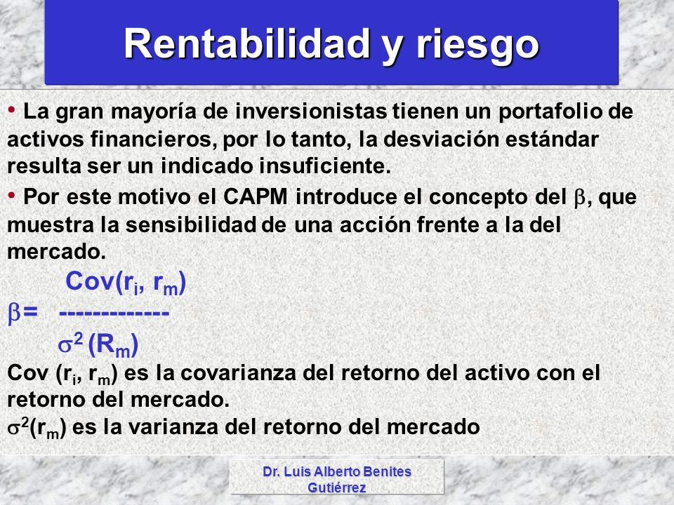 Dr. Luis Alberto Benites Gutiérrez Rentabilidad y riesgo La gran mayoría de inversionistas tienen un portafolio de activos financieros, por lo tanto,