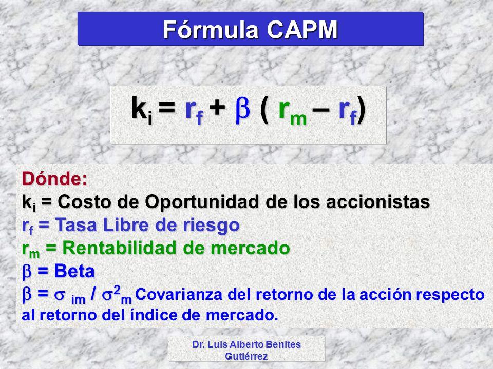 Dr. Luis Alberto Benites Gutiérrez k i = r f + ( r m – r f ) Fórmula CAPM Dónde: k i = Costo de Oportunidad de los accionistas r f = Tasa Libre de rie
