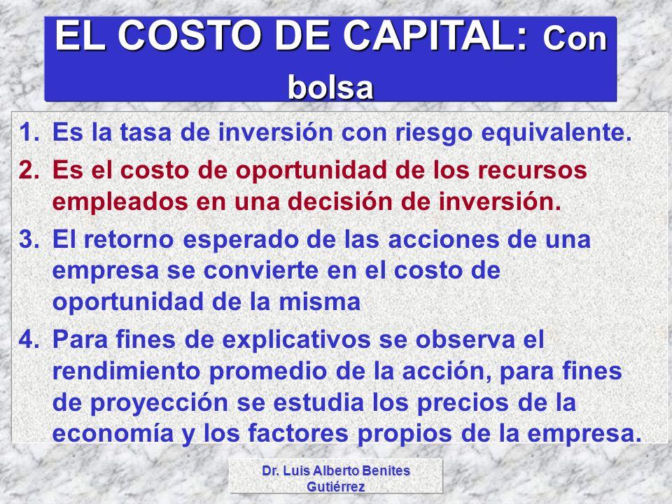 Dr. Luis Alberto Benites Gutiérrez EL COSTO DE CAPITAL: Con bolsa 1.Es la tasa de inversión con riesgo equivalente. 2.Es el costo de oportunidad de lo