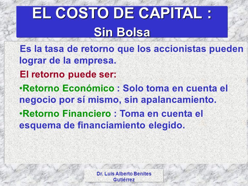 Dr. Luis Alberto Benites Gutiérrez EL COSTO DE CAPITAL : Sin Bolsa Es la tasa de retorno que los accionistas pueden lograr de la empresa. El retorno p