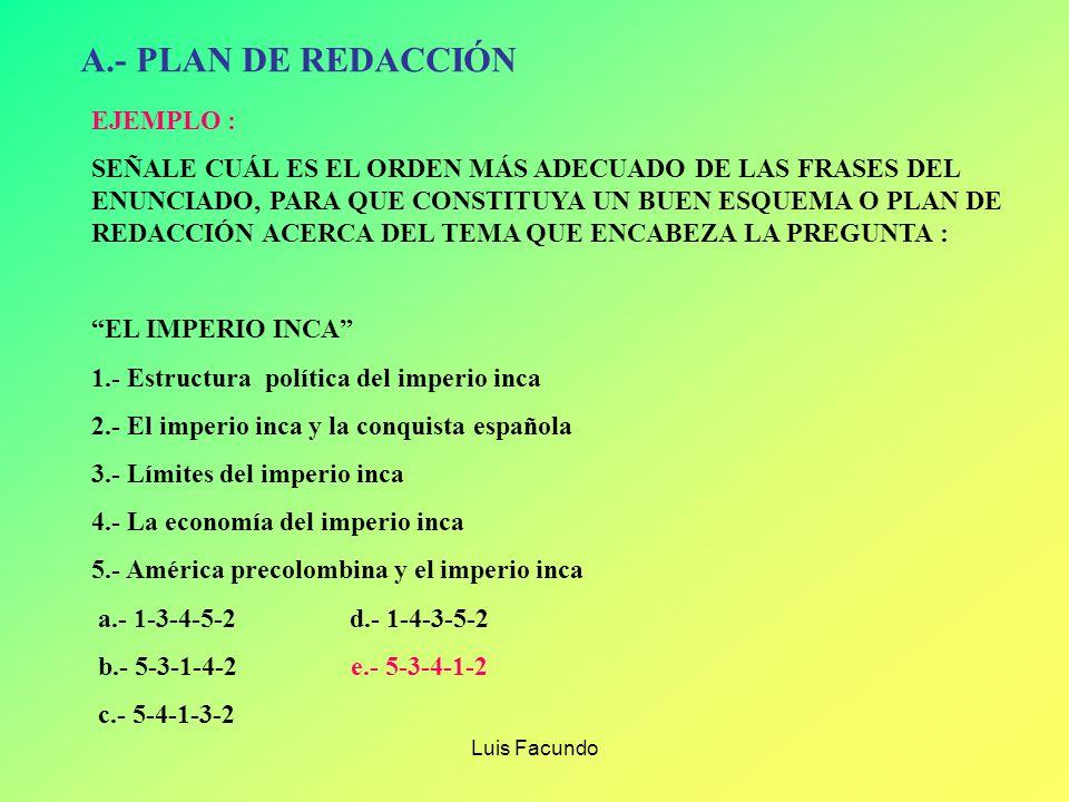 Luis Facundo VARIANTES DE LA PREGUNTA DE SELECCIÓN MÚLTIPLE A.- EL PLAN DE REDACCIÓN B.- USO DE ILATIVOS C.- ELIMINACIÓN DE ORACIONES