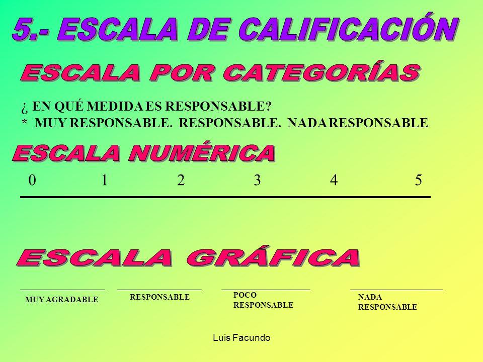 Luis Facundo EXISTEN TRES TIPOS PRINCIPALES DE ESCALAS SON SEMEJANTES A LAS ESCALAS DE CALIFICACIÓN: a.- ESCALA DE CALIFICACIÓN POR CATEGORÍAS b.- ESC