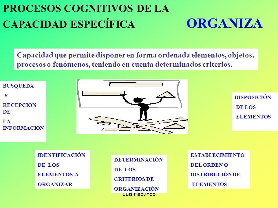 Luis Facundo PROCESOS COGNITIVOS DE LA CAPACIDAD ESPECÍFICA FORMULA Es la capacidad que permite inter relacionar elementos para presentar resultados,