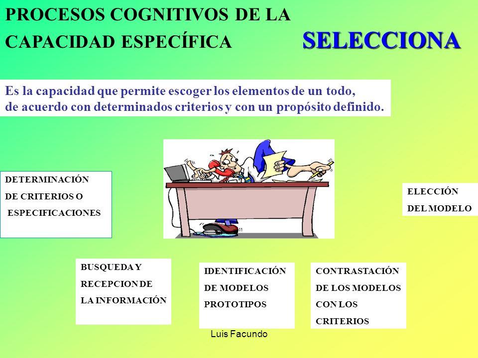 Luis Facundo PROCESOS COGNITIVOS DE LA CAPACIDAD ESPECÍFICA ORGANIZA Capacidad que permite disponer en forma ordenada elementos, objetos, procesos o f
