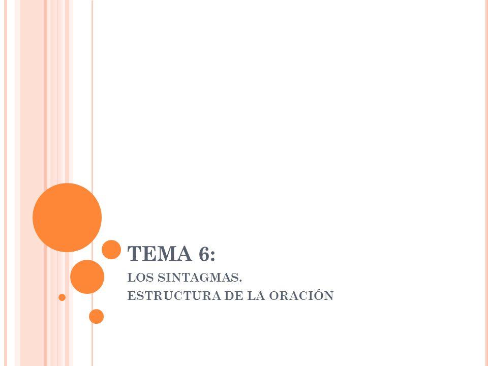 TEMA 6: LOS SINTAGMAS. ESTRUCTURA DE LA ORACIÓN