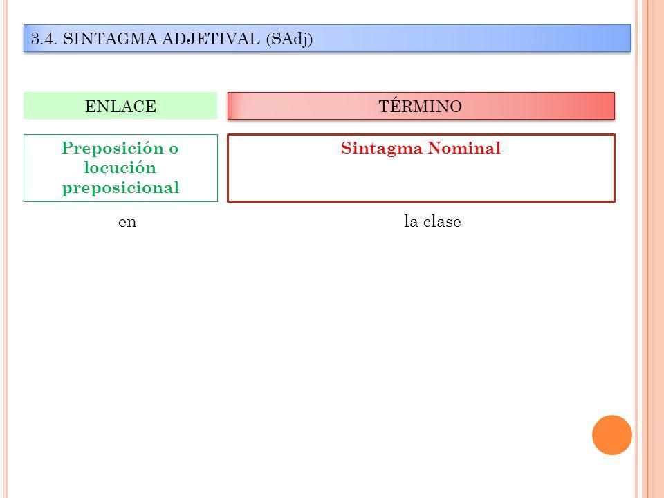 3.4. SINTAGMA ADJETIVAL (SAdj) TÉRMINO ENLACE Sintagma Nominal Preposición o locución preposicional en la clase