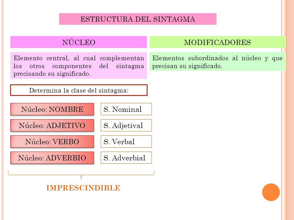 ESTRUCTURA DEL SINTAGMA NÚCLEO Elemento central, al cual complementan los otros componentes del sintagma precisando su significado. Determina la clase