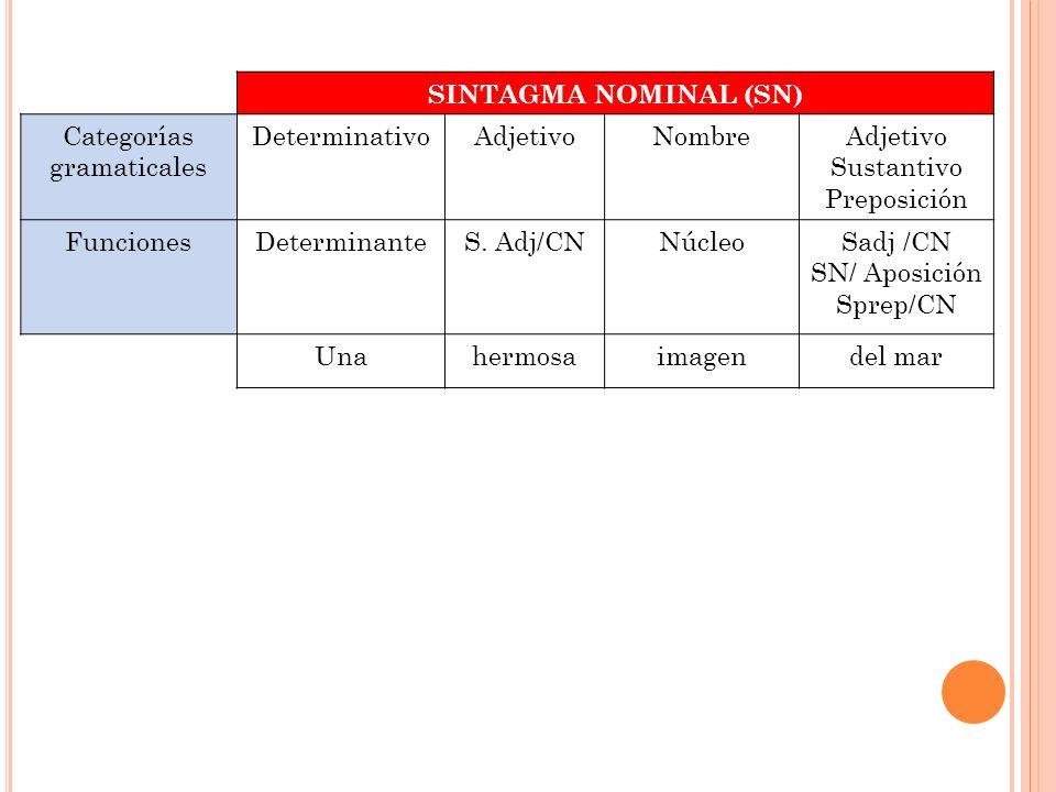 SINTAGMA NOMINAL (SN) Categorías gramaticales DeterminativoAdjetivoNombreAdjetivo Sustantivo Preposición FuncionesDeterminanteS. Adj/CNNúcleoSadj /CN
