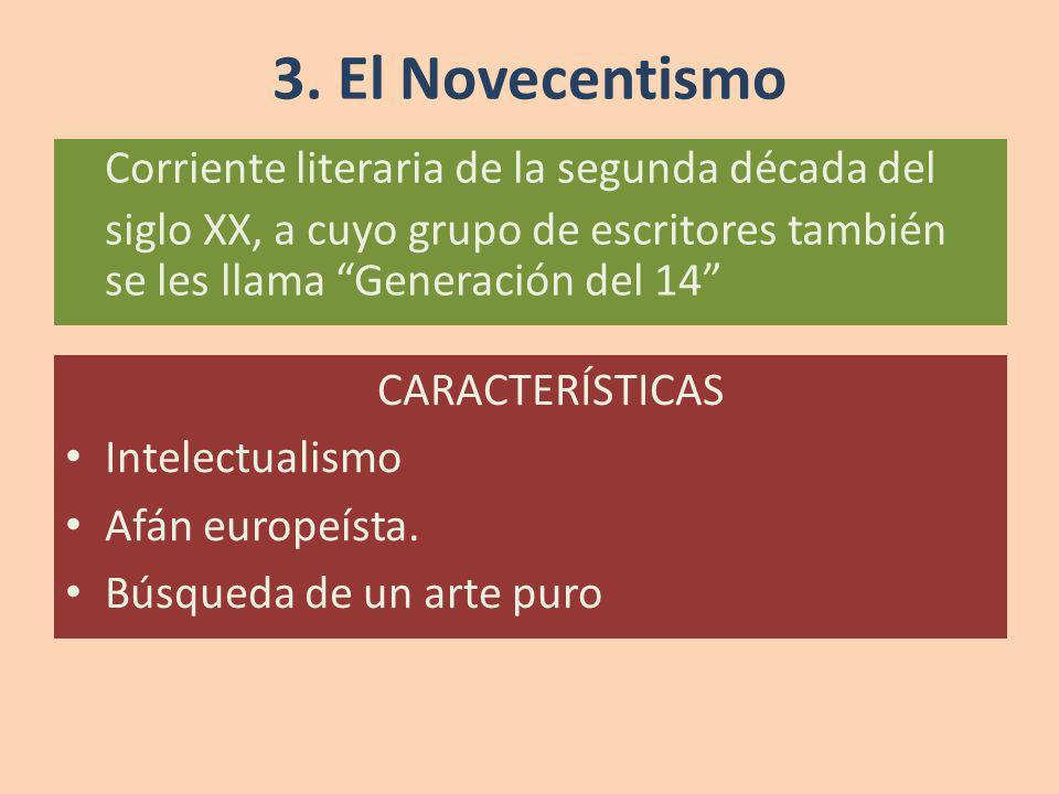 Corriente literaria de la segunda década del siglo XX, a cuyo grupo de escritores también se les llama Generación del 14 3. El Novecentismo CARACTERÍS