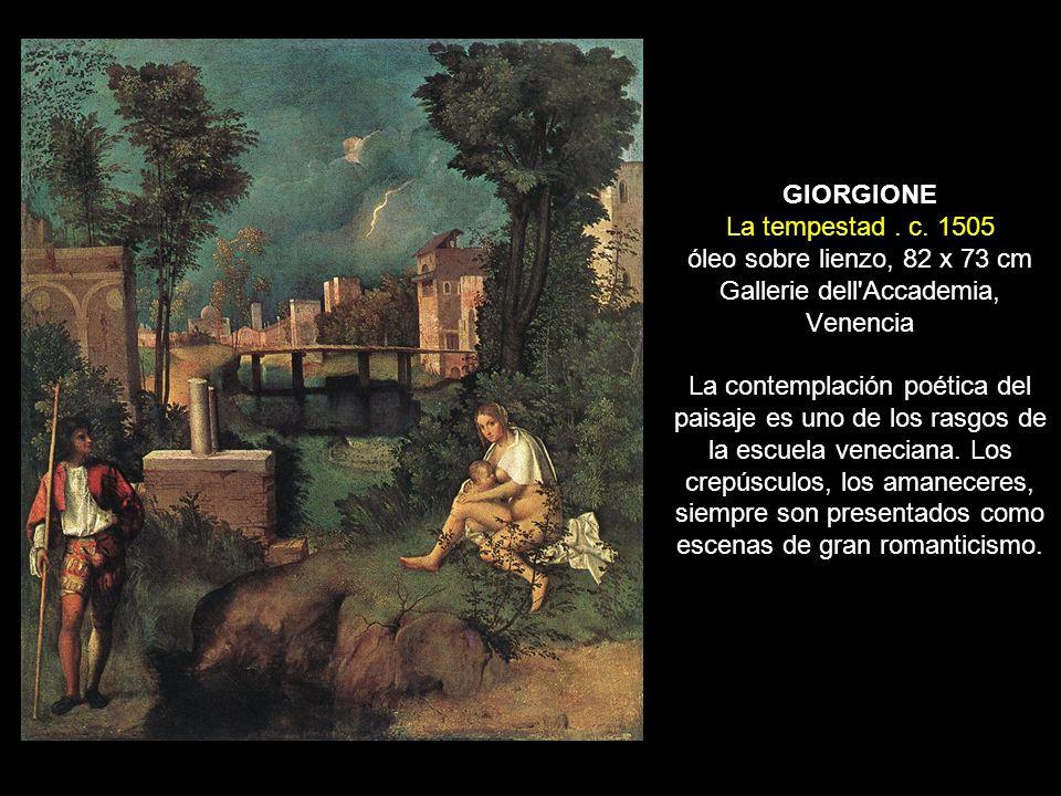 GIORGIONE La tempestad. c. 1505 óleo sobre lienzo, 82 x 73 cm Gallerie dell'Accademia, Venencia La contemplación poética del paisaje es uno de los ras