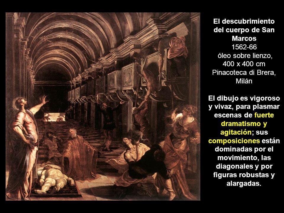 El descubrimiento del cuerpo de San Marcos 1562-66 óleo sobre lienzo, 400 x 400 cm Pinacoteca di Brera, Milán El dibujo es vigoroso y vivaz, para plas