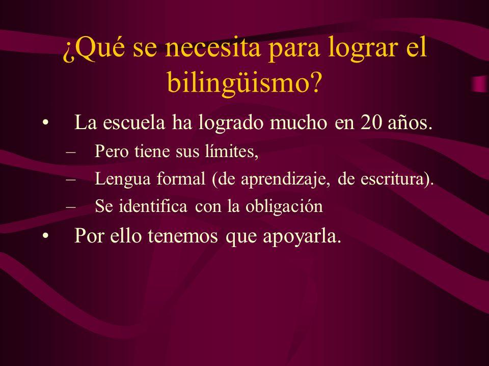 ¿Qué se necesita para lograr el bilingüismo. La escuela ha logrado mucho en 20 años.