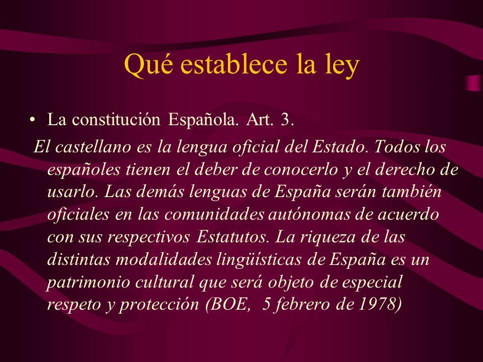 Qué establece la ley La constitución Española. Art.