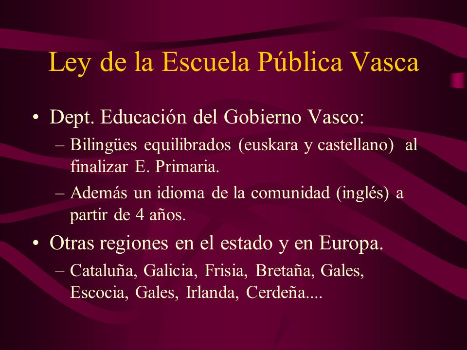 Ley de la Escuela Pública Vasca Dept.