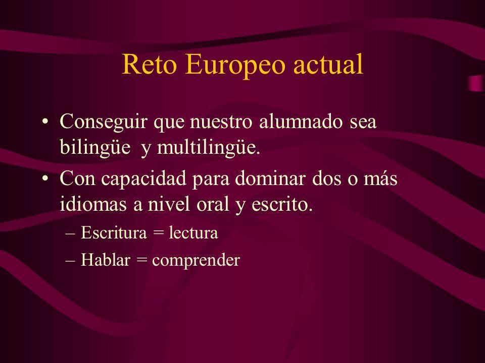 Reto Europeo actual Conseguir que nuestro alumnado sea bilingüe y multilingüe.