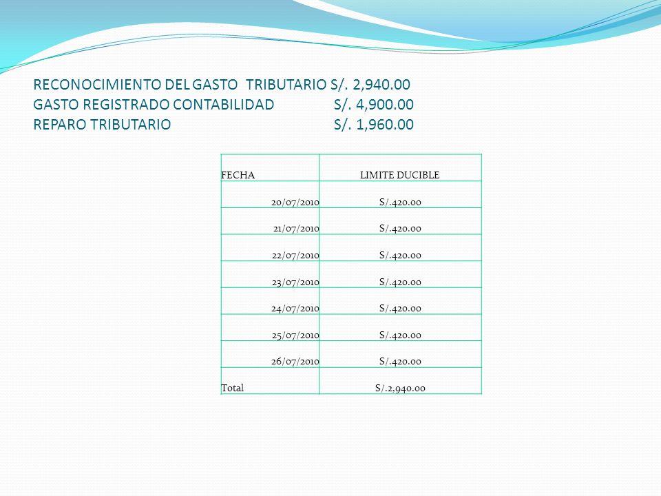 RECONOCIMIENTO DEL GASTO TRIBUTARIO S/.6,879.60 GASTO REGISTRADO CONTABILIDAD S/.