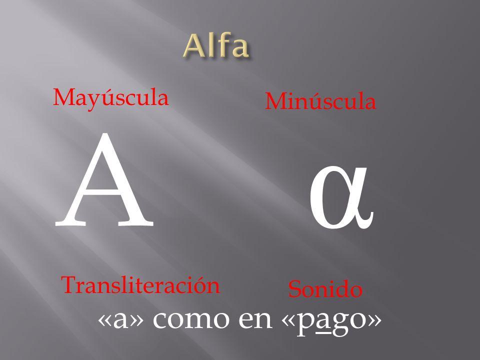 A α «a» como en «pago» Mayúscula Minúscula Transliteración Sonido