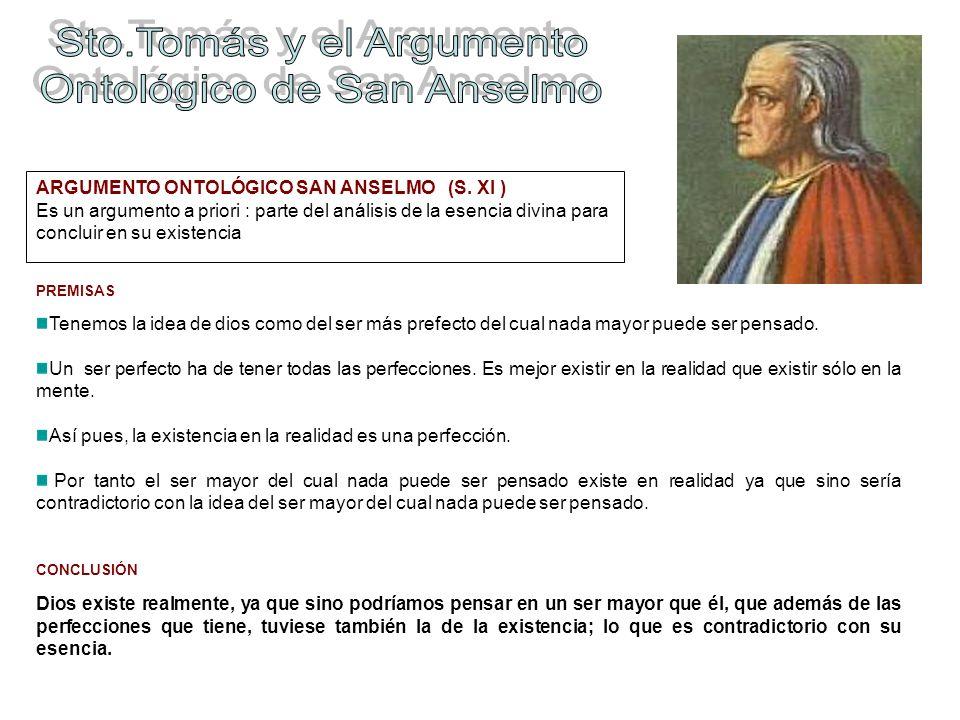 ARGUMENTO ONTOLÓGICO SAN ANSELMO (S. XI ) Es un argumento a priori : parte del análisis de la esencia divina para concluir en su existencia PREMISAS T
