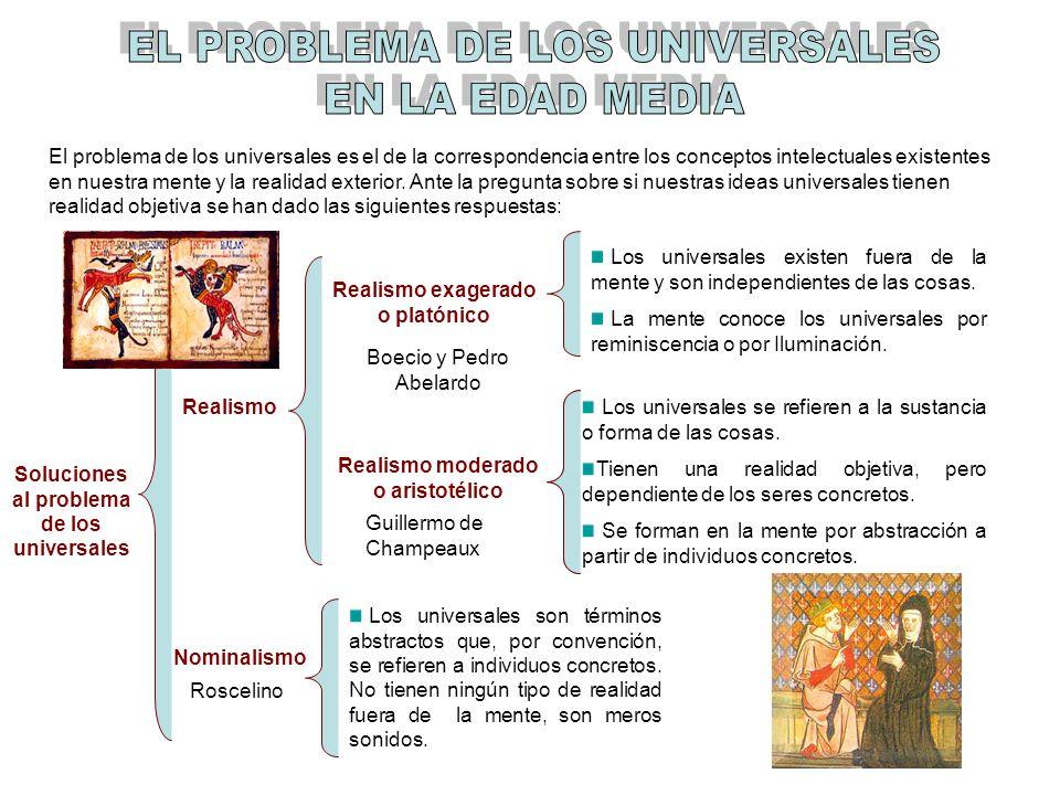 El problema de los universales es el de la correspondencia entre los conceptos intelectuales existentes en nuestra mente y la realidad exterior. Ante