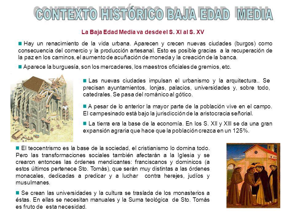 La Baja Edad Media va desde el S. XI al S. XV Hay un renacimiento de la vida urbana. Aparecen y crecen nuevas ciudades (burgos) como consecuencia del