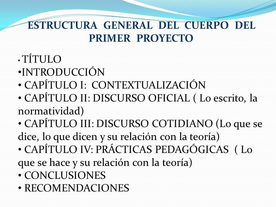 ESTRUCTURA GENERAL DEL CUERPO DEL PRIMER PROYECTO TÍTULO INTRODUCCIÓN CAPÍTULO I: CONTEXTUALIZACIÓN CAPÍTULO II: DISCURSO OFICIAL ( Lo escrito, la nor