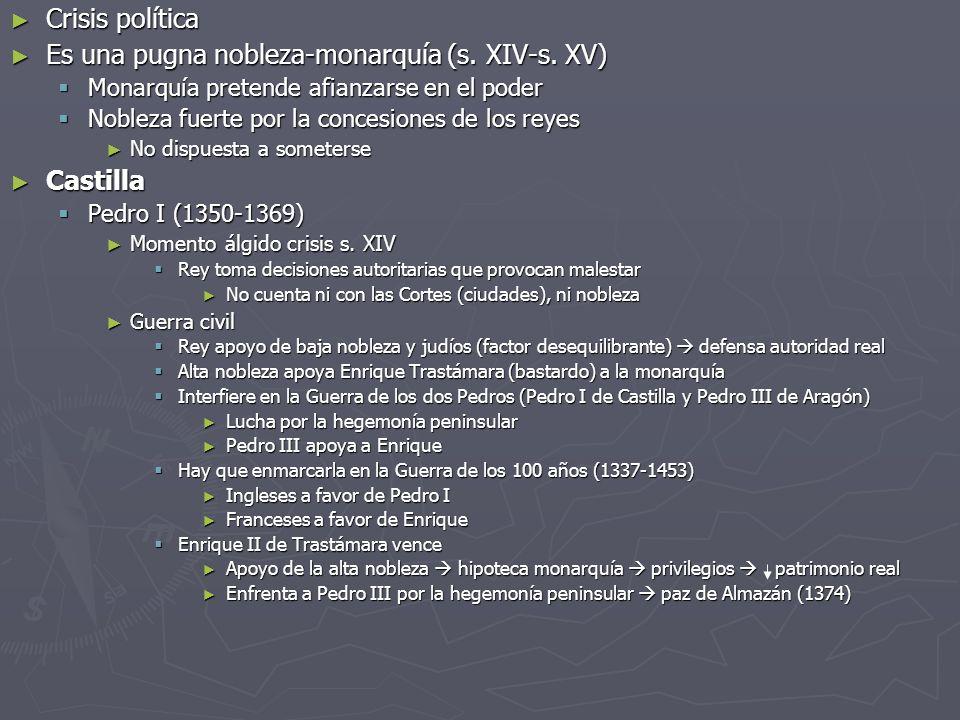Crisis política Crisis política Es una pugna nobleza-monarquía (s. XIV-s. XV) Es una pugna nobleza-monarquía (s. XIV-s. XV) Monarquía pretende afianza