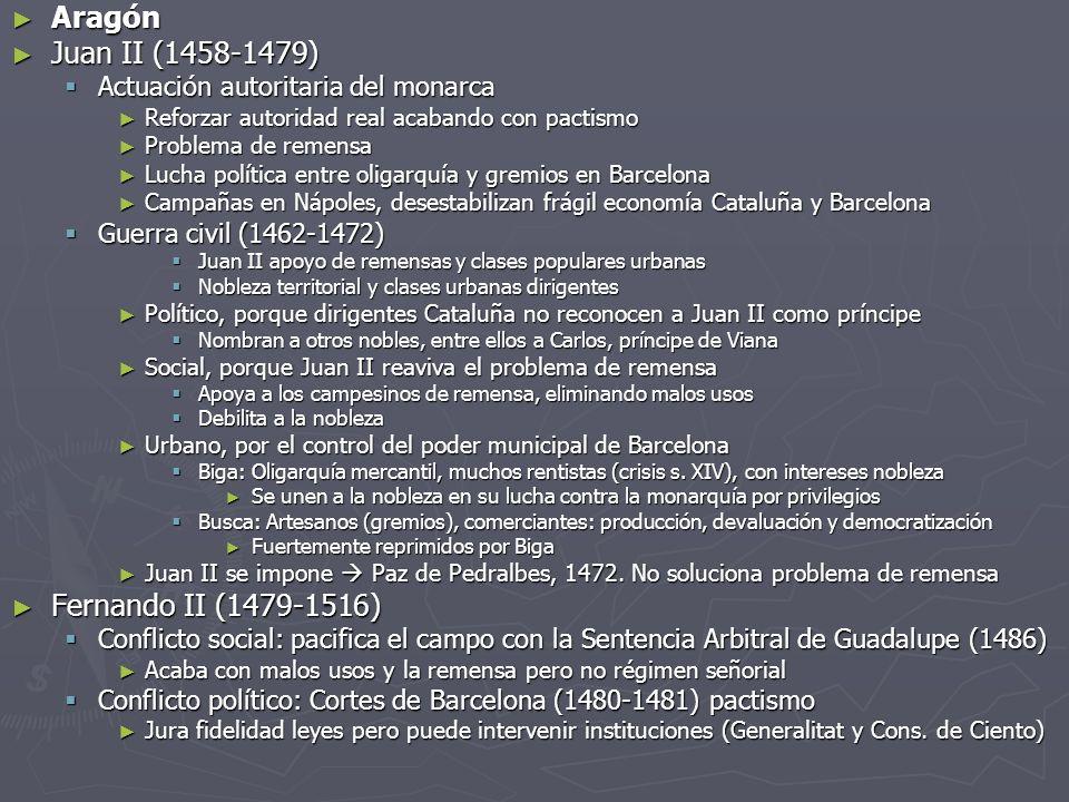 Aragón Aragón Juan II (1458-1479) Juan II (1458-1479) Actuación autoritaria del monarca Actuación autoritaria del monarca Reforzar autoridad real acab