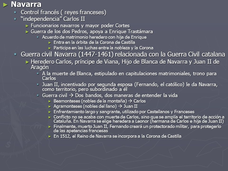 Navarra Navarra Control francés ( reyes franceses) Control francés ( reyes franceses) independencia Carlos II independencia Carlos II Funcionarios nav