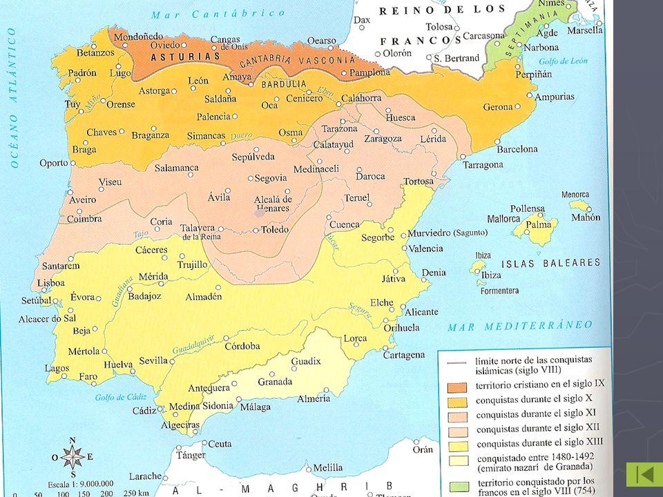 Reinos y condados orientales Reinos y condados orientales Área de actuación de Carlomagno Área de actuación de Carlomagno Protección frente a musulmanes: crea la Marca Hispánica Protección frente a musulmanes: crea la Marca Hispánica Dividida en condados y dirigida por condes Dividida en condados y dirigida por condes Algunos condados se independizan Algunos condados se independizan Condado de Aragón (817) Condado de Aragón (817) Condado de Pamplona Reino de Pamplona (830) Reino de Navarra (905) Condado de Pamplona Reino de Pamplona (830) Reino de Navarra (905) Condados Catalanes: dominio carolingio más duradero Condados Catalanes: dominio carolingio más duradero Wifredo el velloso hace hereditarios sus cargos (897) Wifredo el velloso hace hereditarios sus cargos (897) Borrell II niega juramento Condados catalanes independientes (987) Borrell II niega juramento Condados catalanes independientes (987) Reino de Navarra con Sancho III el mayor (1005-1035) Reino de Navarra con Sancho III el mayor (1005-1035) Aprovecha debilidad califato para incorporar una serie de tierrras Aprovecha debilidad califato para incorporar una serie de tierrras Vasco-Cantabro, Cond.
