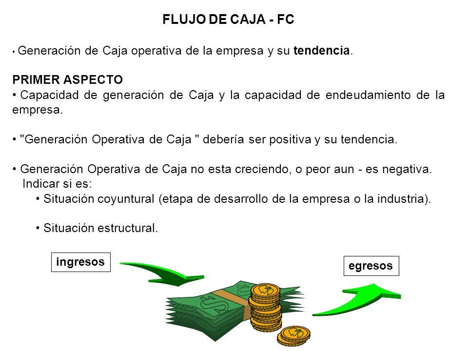 FLUJO DE CAJA - FC Generación de Caja operativa de la empresa y su tendencia. PRIMER ASPECTO Capacidad de generación de Caja y la capacidad de endeuda