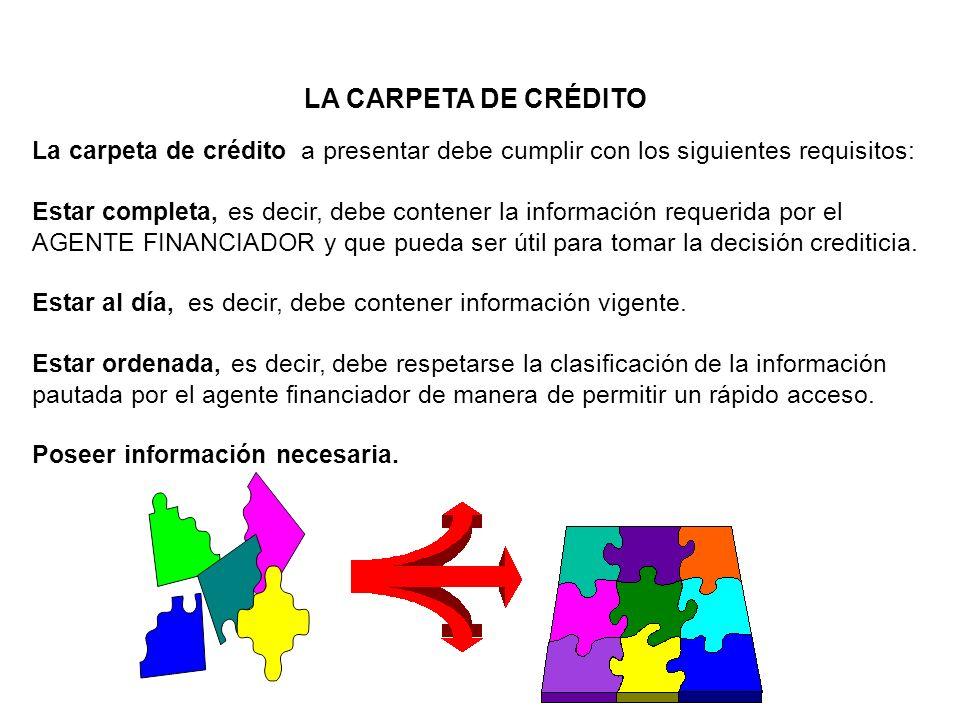 LA CARPETA DE CRÉDITO La carpeta de crédito a presentar debe cumplir con los siguientes requisitos: Estar completa, es decir, debe contener la informa