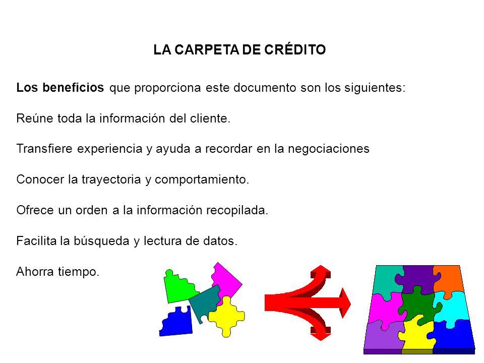 LA CARPETA DE CRÉDITO Los beneficios que proporciona este documento son los siguientes: Reúne toda la información del cliente. Transfiere experiencia