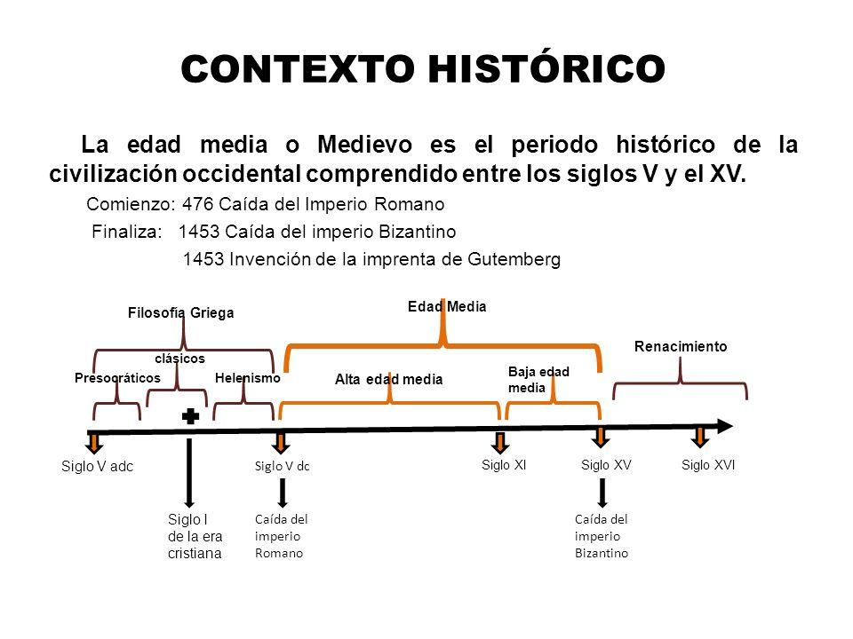CONTEXTO HISTÓRICO La edad media o Medievo es el periodo histórico de la civilización occidental comprendido entre los siglos V y el XV. Comienzo: 476
