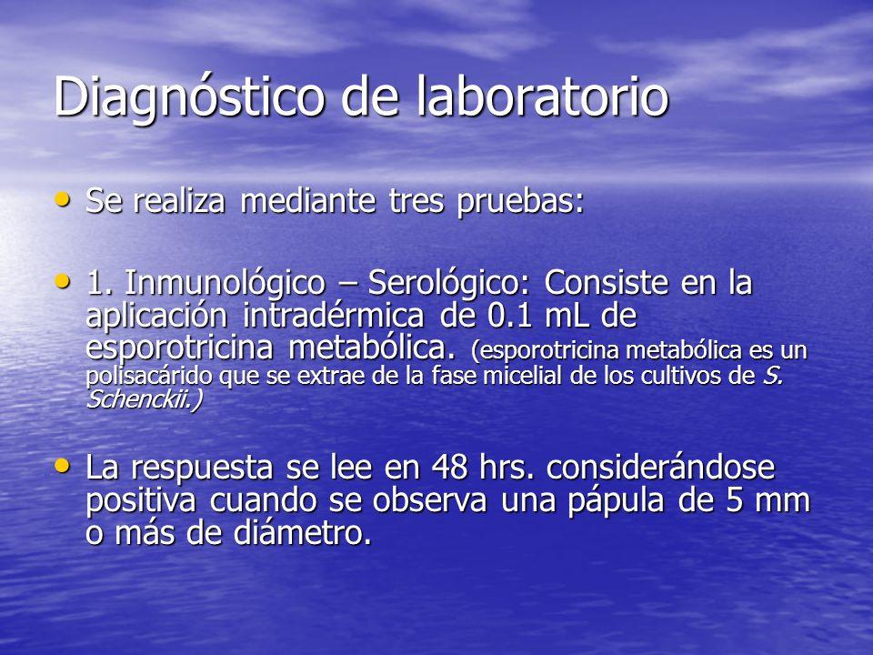 Diagnóstico de laboratorio Se realiza mediante tres pruebas: Se realiza mediante tres pruebas: 1. Inmunológico – Serológico: Consiste en la aplicación