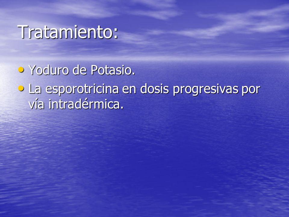 Tratamiento: Yoduro de Potasio. Yoduro de Potasio. La esporotricina en dosis progresivas por vía intradérmica. La esporotricina en dosis progresivas p