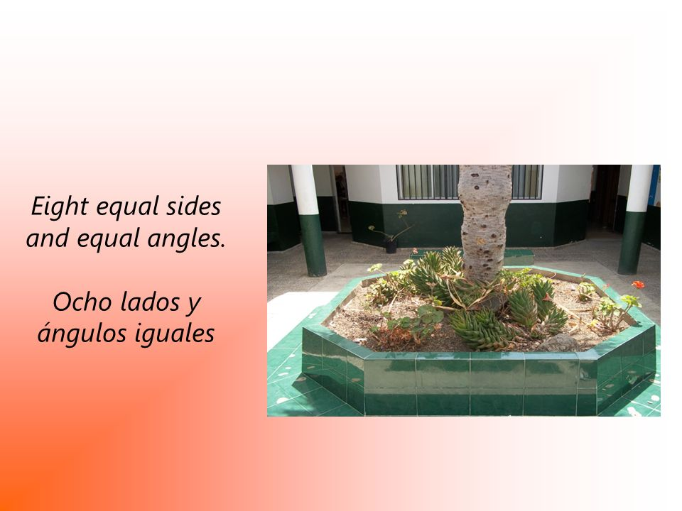 Eight equal sides and equal angles. Ocho lados y ángulos iguales