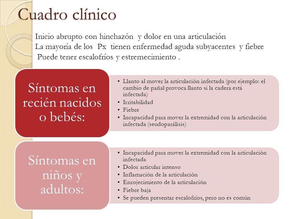Cuadro clínico Llanto al mover la articulación infectada (por ejemplo: el cambio de pañal provoca llanto si la cadera está infectada) Irritabilidad Fi