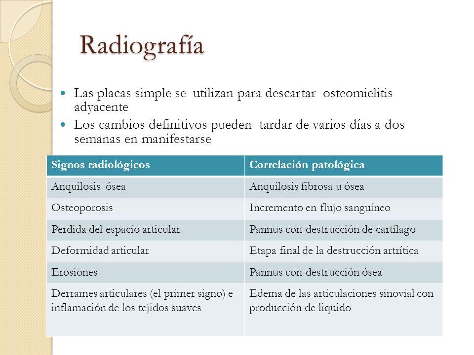 Radiografía Las placas simple se utilizan para descartar osteomielitis adyacente Los cambios definitivos pueden tardar de varios días a dos semanas en