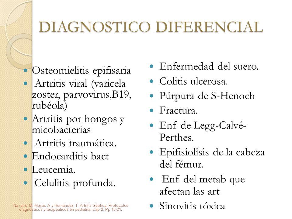 DIAGNOSTICO DIFERENCIAL Osteomielitis epifisaria Artritis viral (varicela zoster, parvovirus,B19, rubéola) Artritis por hongos y micobacterias Artriti