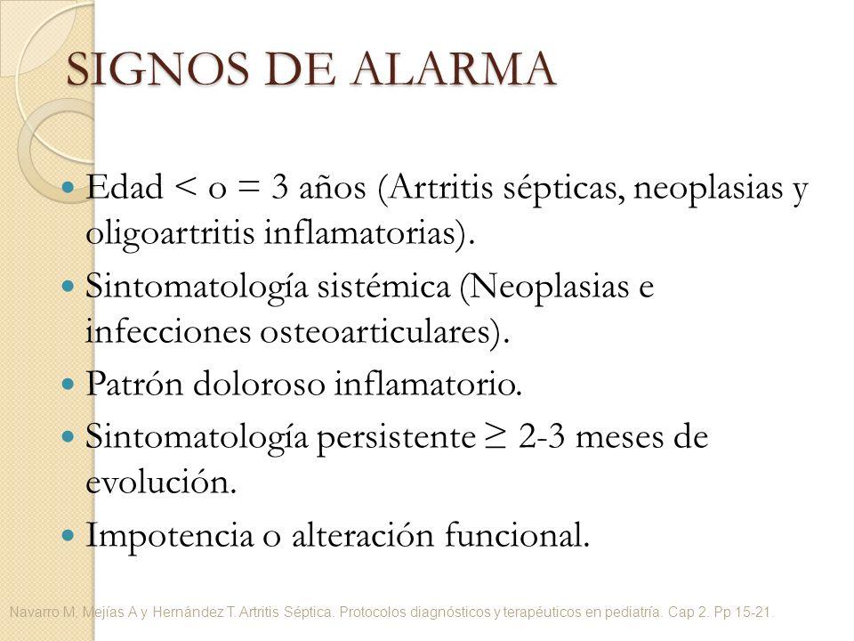 Edad < o = 3 años (Artritis sépticas, neoplasias y oligoartritis inflamatorias). Sintomatología sistémica (Neoplasias e infecciones osteoarticulares).