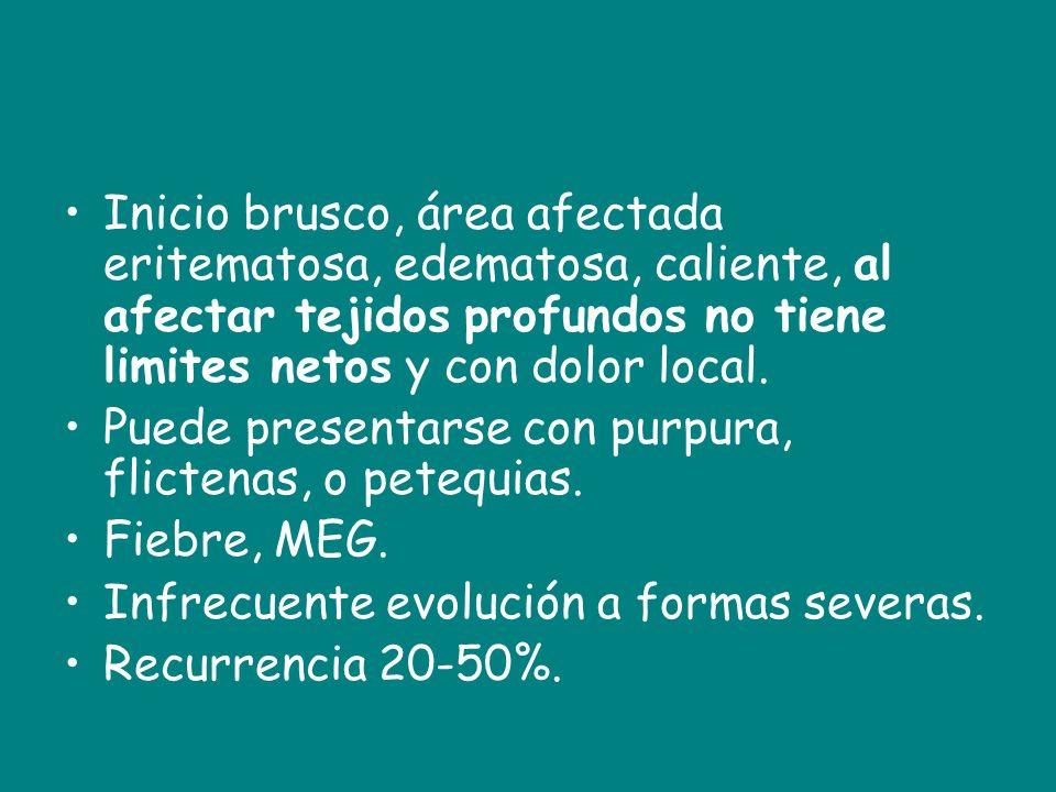 Inicio brusco, área afectada eritematosa, edematosa, caliente, al afectar tejidos profundos no tiene limites netos y con dolor local. Puede presentars