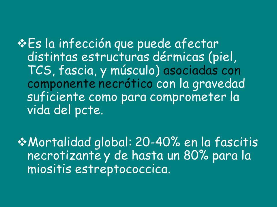 Es la infección que puede afectar distintas estructuras dérmicas (piel, TCS, fascia, y músculo) asociadas con componente necrótico con la gravedad suf
