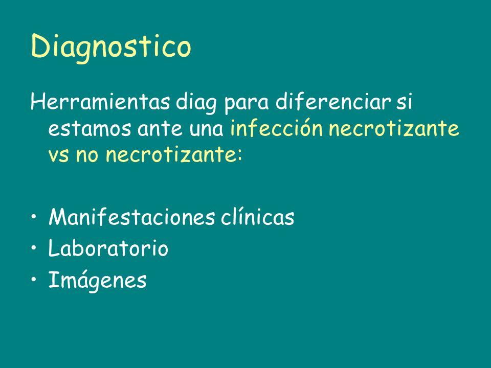Diagnostico Herramientas diag para diferenciar si estamos ante una infección necrotizante vs no necrotizante: Manifestaciones clínicas Laboratorio Imá
