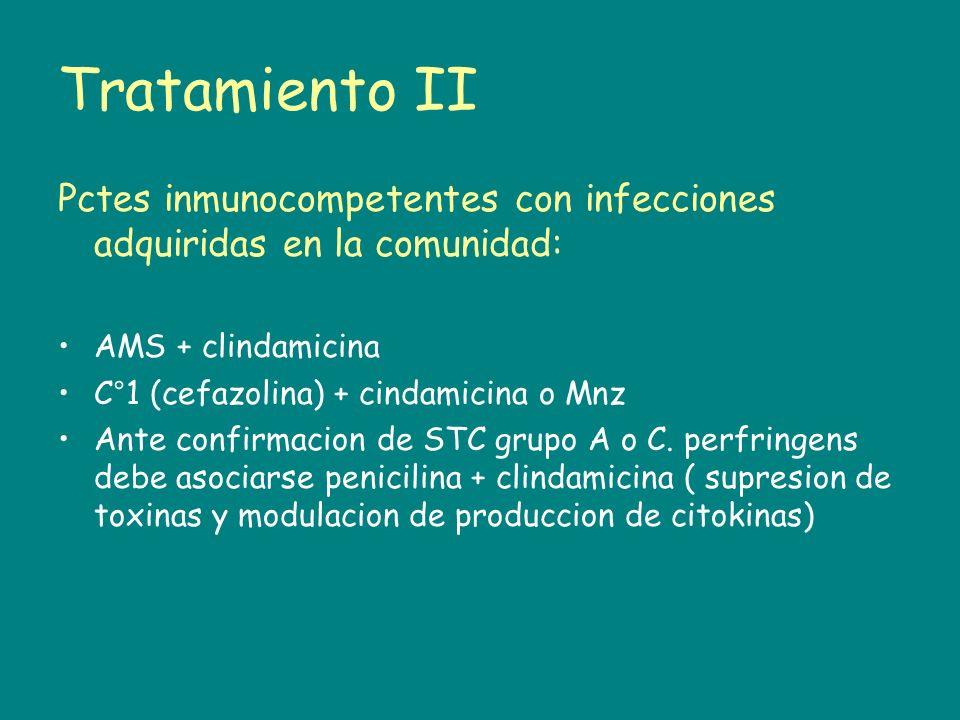 Tratamiento II Pctes inmunocompetentes con infecciones adquiridas en la comunidad: AMS + clindamicina C°1 (cefazolina) + cindamicina o Mnz Ante confir