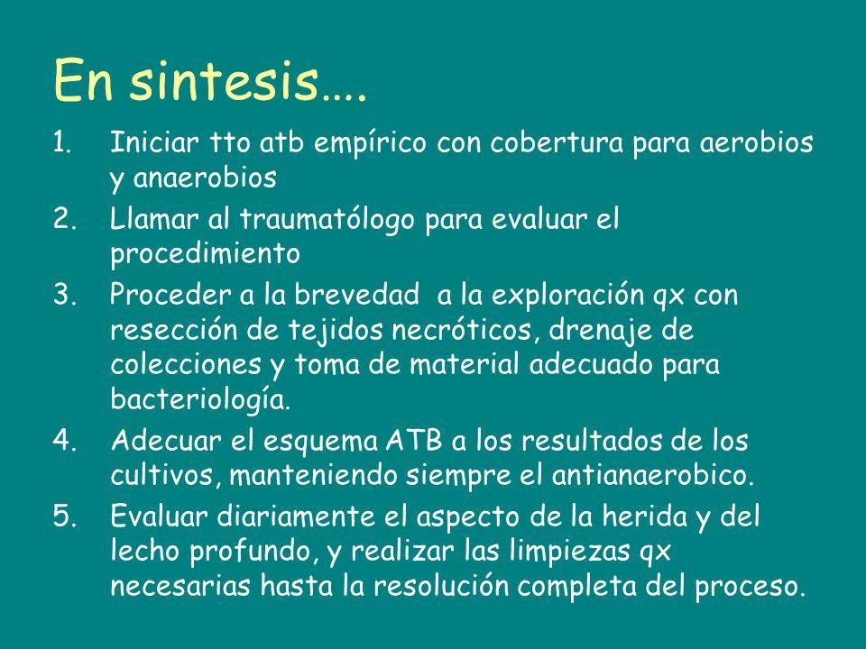 En sintesis…. 1.Iniciar tto atb empírico con cobertura para aerobios y anaerobios 2.Llamar al traumatólogo para evaluar el procedimiento 3.Proceder a