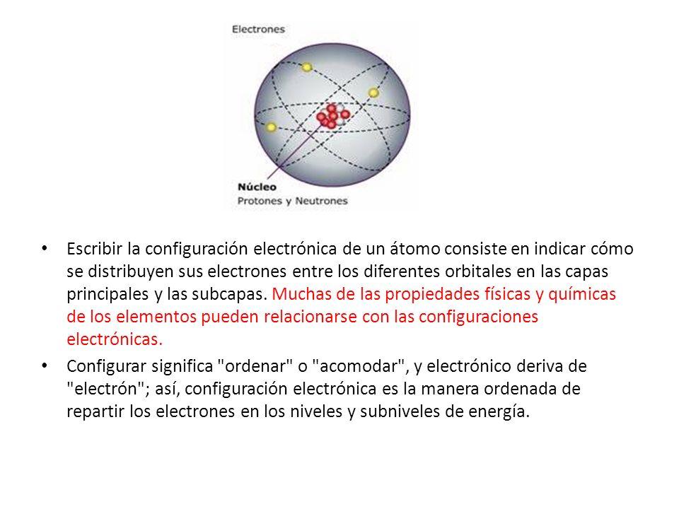 Escribir la configuración electrónica de un átomo consiste en indicar cómo se distribuyen sus electrones entre los diferentes orbitales en las capas p