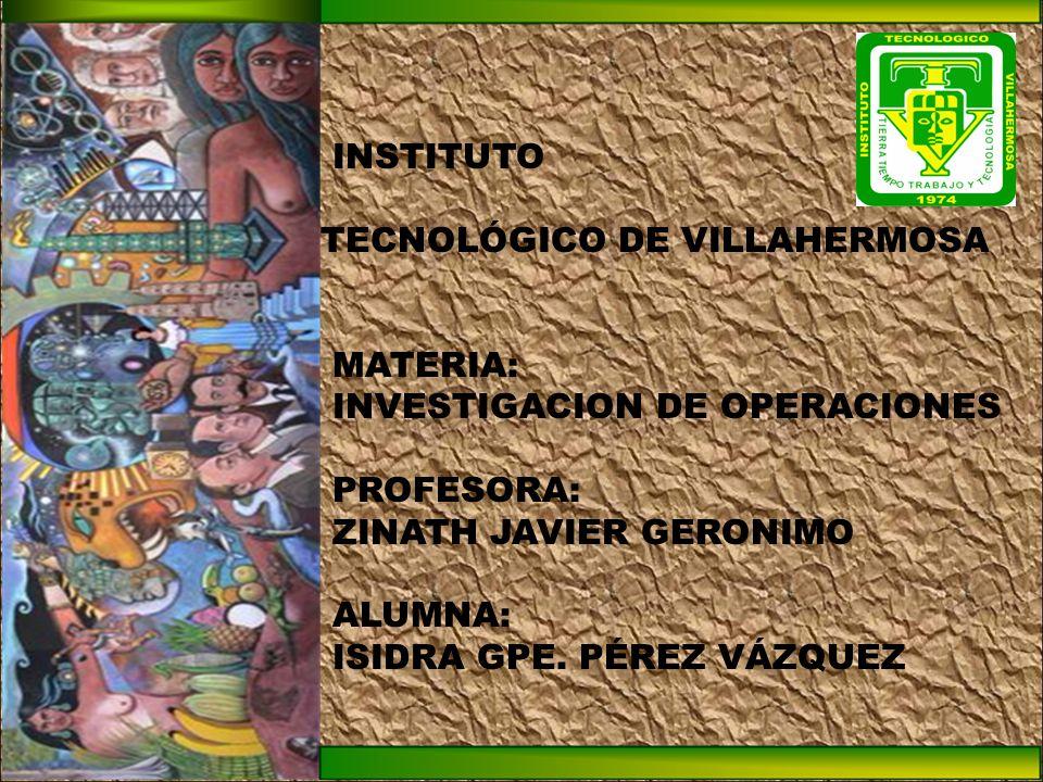 INSTITUTO TECNOLÓGICO DE VILLAHERMOSA MATERIA: INVESTIGACION DE OPERACIONES PROFESORA: ZINATH JAVIER GERONIMO ALUMNA: ISIDRA GPE.